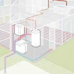 Schema di impianto con pompa di calore aria-acqua
